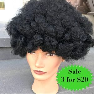 BLACK WIG Afro curly hair costume Halloween